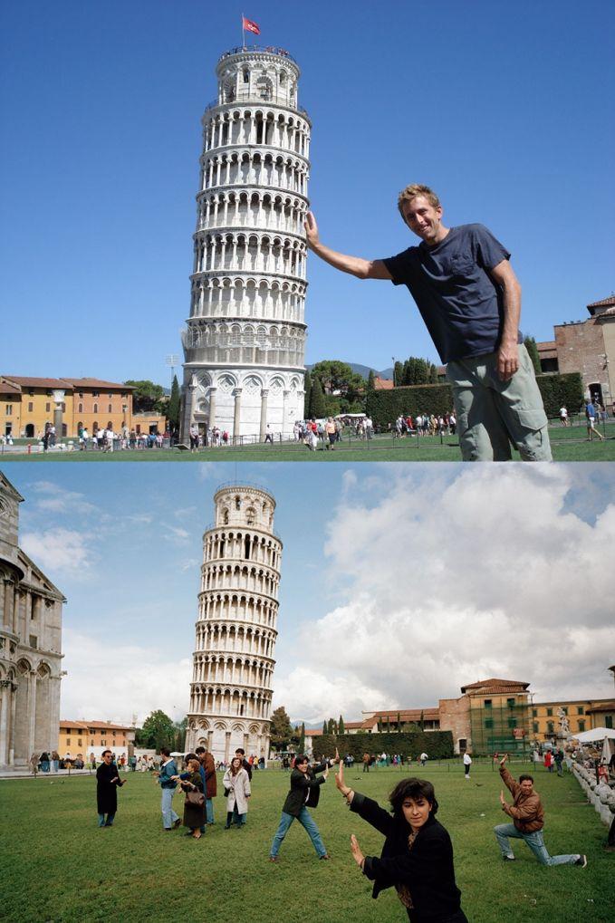 Befoto memegang menara Pisa di Italia Ekspektasi: Bisa dapet tempat strategis dan pas buat pose pegang menara Pisa Realita: Banyak banget orang yang udah ngambil posisi strategis dan pose dengan pose yang sama