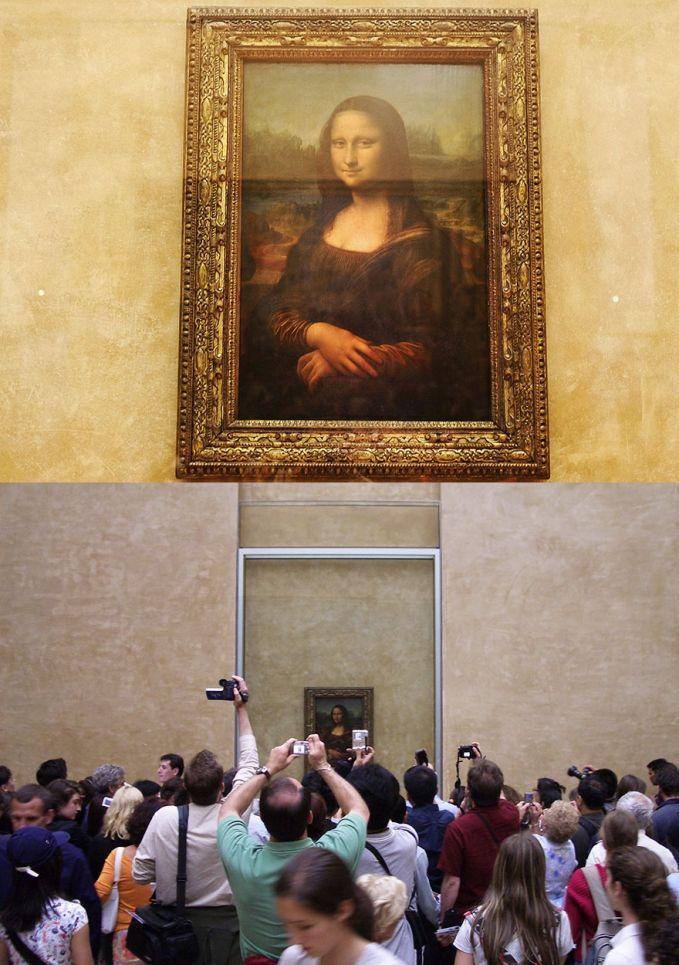 Menikmati Lukisan Mona Lisa di Museum Louvre, Paris Ekspektasi: tempatnya sepi jadi bisa menikmati sendiri lukisannya dalam keadaan sunyi dan tenang Realita: semua orang campur aduk dateng bejubel cuma buat lukisan ini alhasil ga keliatan