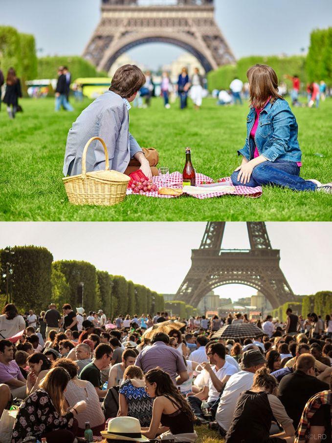 Piknik di dekat Menara Eiffel Ekspektasi: seperti piknik di taman, ga terlalu rame, bisa berduaan, di dekat Eiffel Realita: semua orang piknik di dekat Eiffel, ga jadi berduaan, rame banget.
