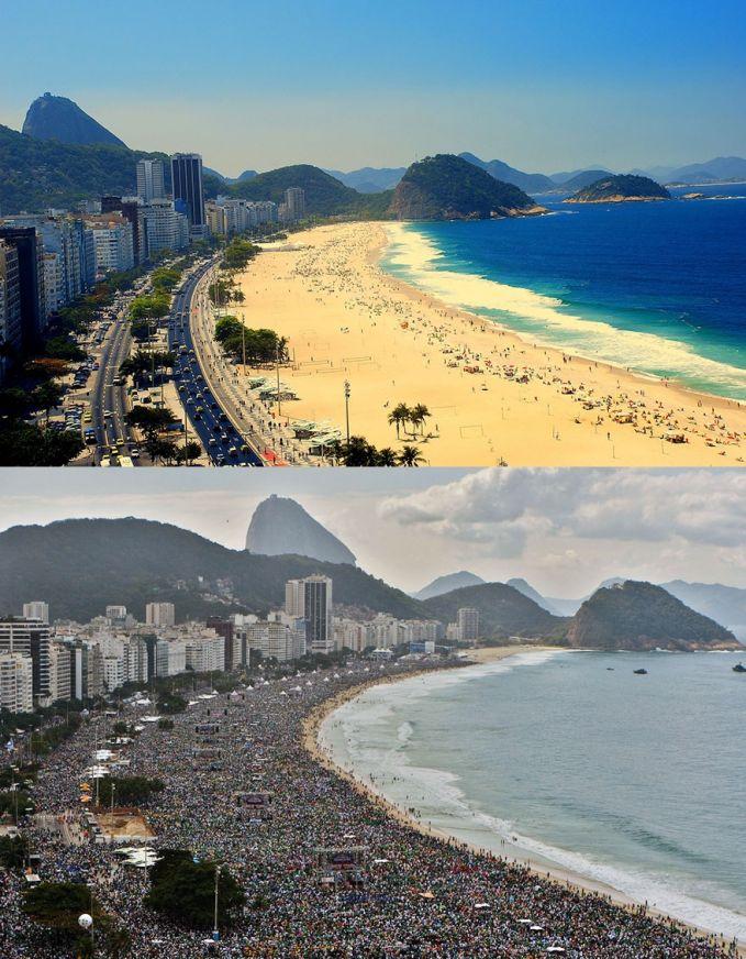 Berjemur di pantai terkenal di Rio De Janeiro, Brazil Ekspektasi: berjemur di bawah matahari, sambil menikmati suara ombak di pantai, ga terlalu rame Realita: orang tumpah ruah berjemur semua, ga kedengeran suara ombak, ga bisa gerak, rame banget
