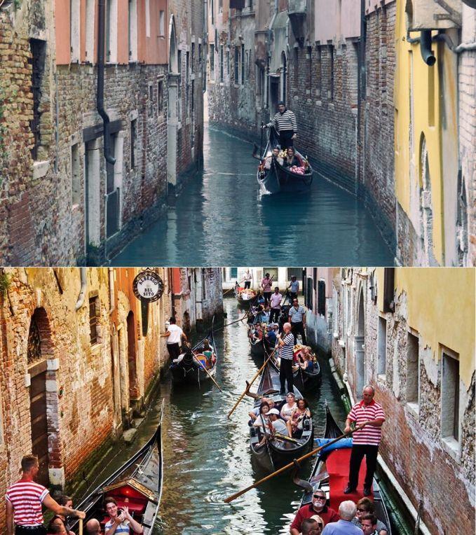 Naik Gondola dengan tenang di Venice, Italia Ekspektasi: tenang, setenang airnya, sambil dinyanyiin sama pengemudi Gondolanya, romantis banget Realita: semua orang naik gondola, jalannya sempit, papasan sama gondola terus, rame, pengemudi Gondola nyanyi saut-sautan, ga romantis