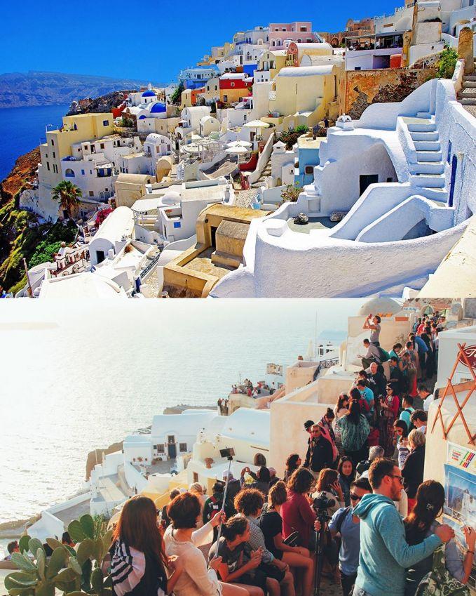 Berjalan di Santorini, Yunani Ekspektasi: jalan-jalan dengan tenang, santai, cari spot untuk foto, sambil menikmati Santorini Realita: rame, banyak yang foto, spot bagus diambil duluan, jalannya sempit, mau jalan antri, jadi susah menikmati
