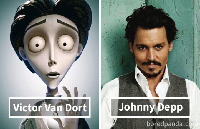 Victor Van Dort dari film Corpse Bride (Tim Burton) ternyata dubbernya adalah artis serba bisa, Johnny Depp!