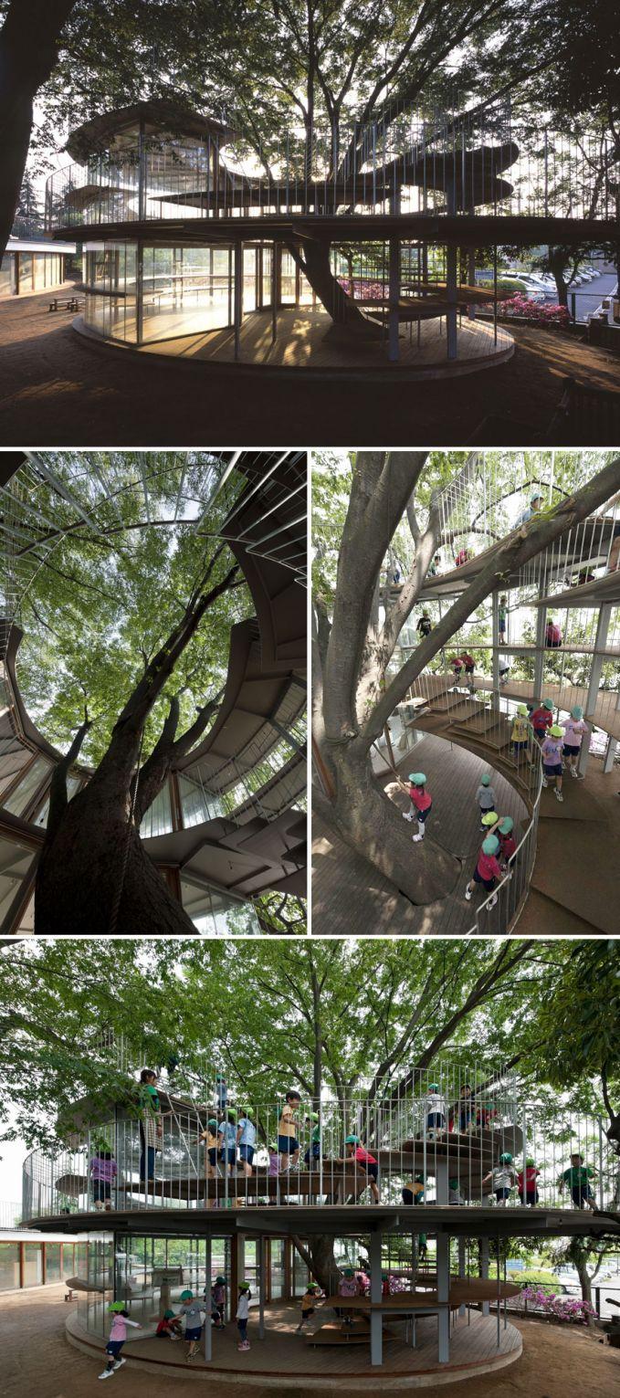 Taman Kanak-kanak ini dibangun dengan pohon di tengah-tengahnya. Selain asri, adem, ini juga menjadi pengenalan kepada murid agar mencintai pohon dan alamnya.