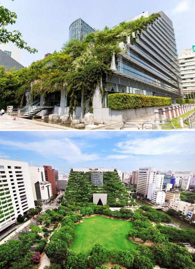 Gedung Acros, Fukuoka, Jepang Hijau banget yaa gedungnya.