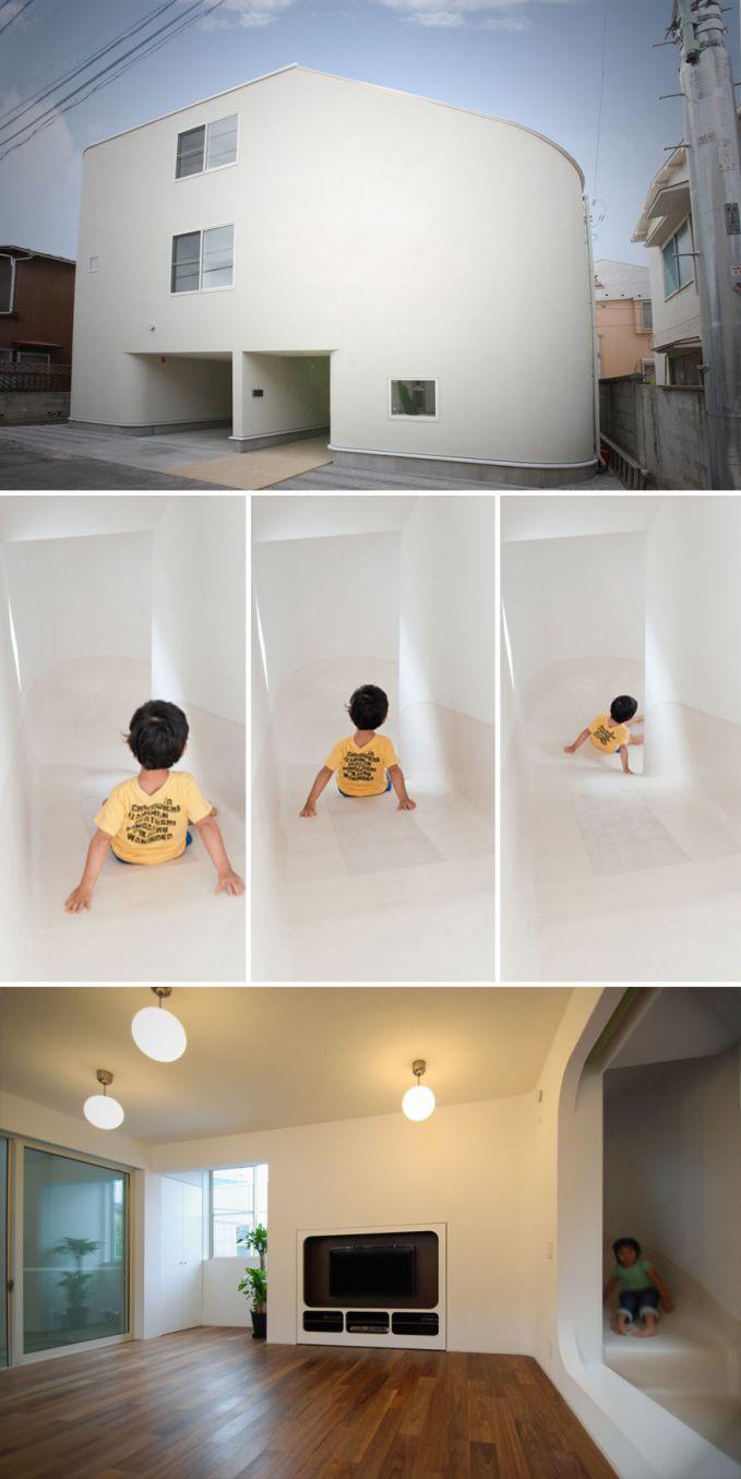 Rumah Perosotan, Jepang Kalau mau turun dari lantai paling atas langsung naik perosotan, asik banget yaa Pulsker!