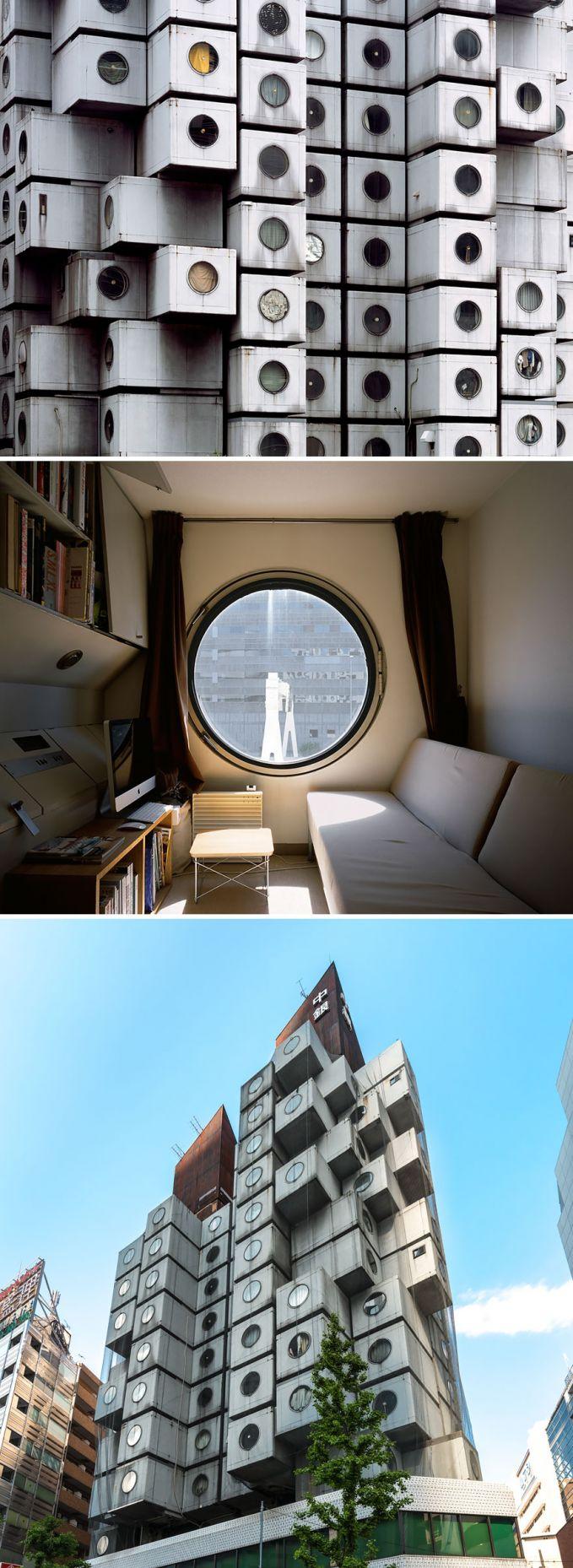 Menara Kapsul Nakagin, Tokyo, Jepang Selain kaya kapsul, mirip mesin cuci juga ya Pulsker? Hehehe, tapi jangan salah, kecil-kecil begitu dalemnya bikin nyaman banget.