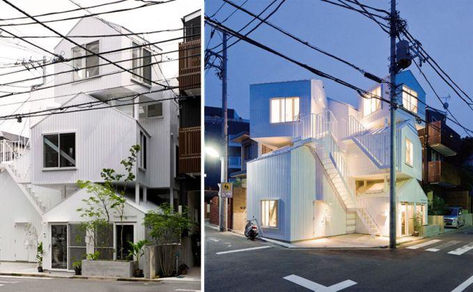 Apartemen di Tokyo Bentuk gedung apartemen ini kaya rumah-rumah yang ditumpuk jadi satu gedung ya Pulsker.
