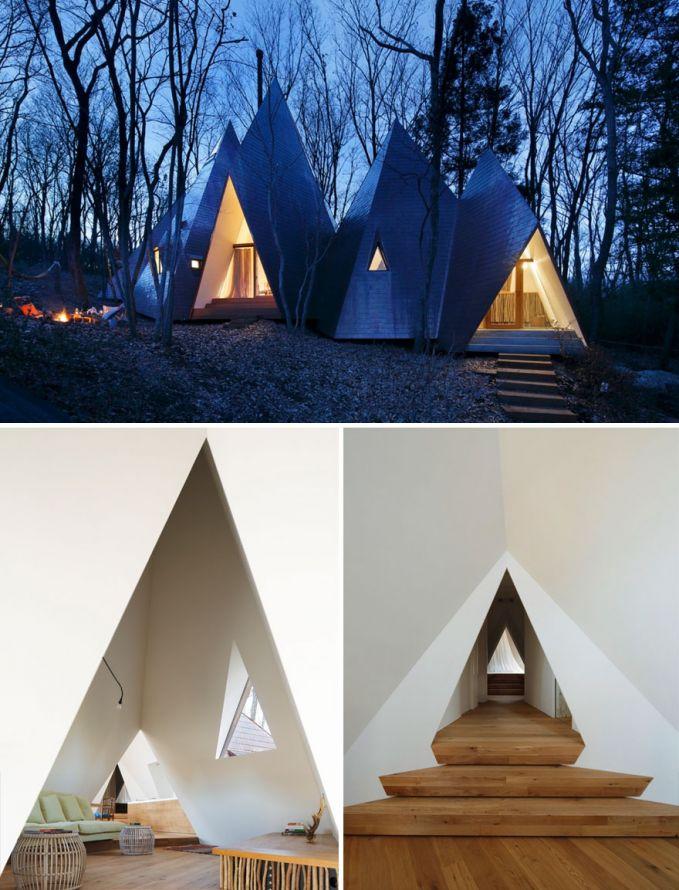 Rumah Nasu Teepee, Nasu Rumah berbentuk segitiga, jadi kaya tinggal di tenda ya Pulsker. Itu dia beberapa arsitektur moderen di Jepang yang keren abis. Kamu paling suka yang mana nih Pulsker? Yuk share ke keluarga dan temen kamu yang arsitek atau mau bikin rumah.