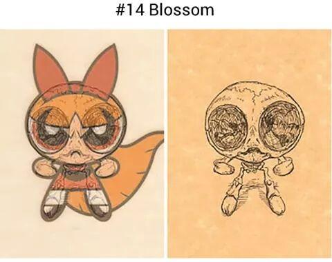 Begitu juga dengan kawannya, Si Bubbles. Sama halnya dengan Blossom, dia nampak menggemaskan. Tapi kalau sudah digambar hanya tinggal kerangkanya saja, jadi hilang deg gemasnya, dan berubah jadi sosok mengerikan ini.