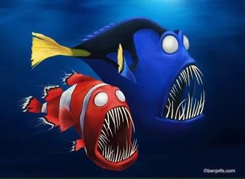 Nemo yang biasanya bertampang penuh sopan santun, lembut, dan penuh keceriaan seketika berubah pulsker. Ikan satu ini menjadi berwajah menyeramkan seperti layaknya ikan piranha begini pulsker. Wah, kalau gini bukan lucu lagi ya pulsker tapi si nemo yang siap untuk memangsa.