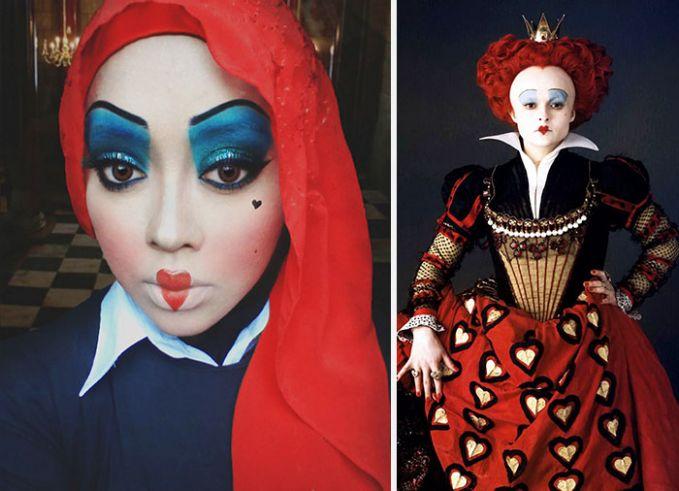 Red Queen dari Alice in Wonderland. Mirip banget yaa Pulsker! Yuk share ke keluarga dan temen kamu yang berhijab dan suka banget make up.