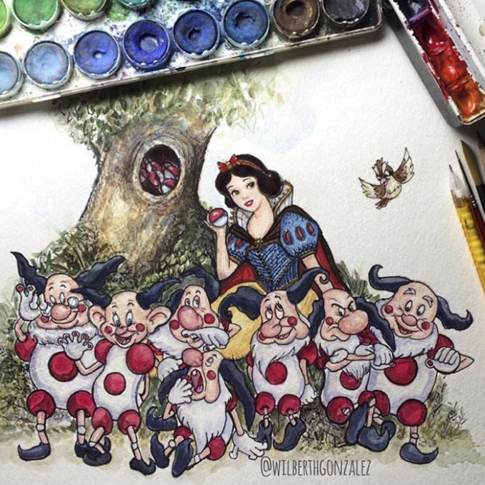 Putri salju dan tuan tujuh kurcaci yang berubah jadi punya polkadot diwajah dan tubuhnya. Jadi lucu atau aneh Pulsker?