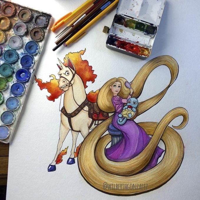 Rapunzel dari Tangled sekarang punya teman Rapidash dan Squirtle..yang akur ya Putri..