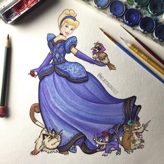 Cinderella memiliki Meowth, Rattata dan sebuah Raticate untuk membantunya berpakaian..Keren kan yang dijadikan pelayan adalah para pokemon.