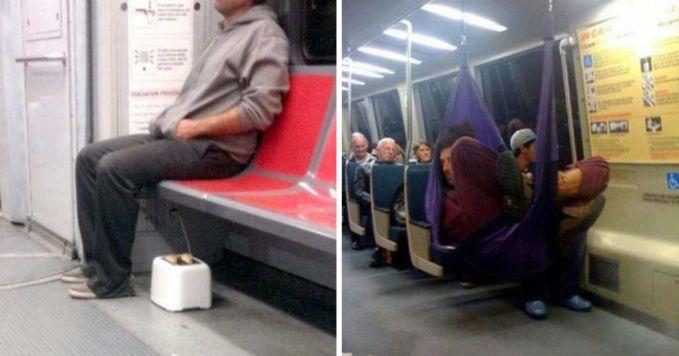 Ada-ada aja sih tingkah orang dikendaraan umum ini. Foto sebelah kiri memperlihatkan orang membawa panggangan roti yang digunakan didalam bus, sedangkan foto sebelah kanan memperlihatkan orang yang membawa ayunan gantung dan dipasang didalam kereta bawah tanah.