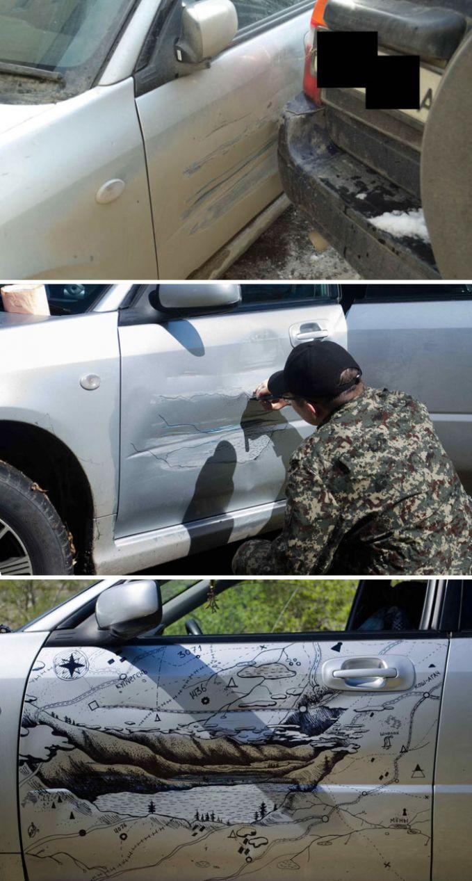 Mobil ini ga sengaja ditabrak mobil lainnya dan meninggalkan bekas goresan yang cukur ketara dan dalam. Pemiliknya memutuskan memperbaikinya dengan cara yang ga biasa, yaitu menggambar dibekas goresan tersebut sampai ga terlihat kalo itu sebenernya adalah bekas goresan. Keren banget!