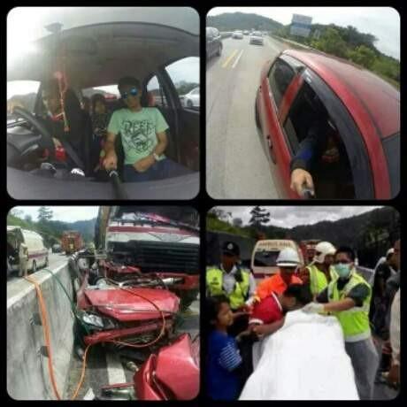 Kecelakaan Maut Di Negeri Jiran Yang terkhir kejadiannya berasal dari negara tetangga Pulsker, tepatnya di Malaysia. Mobil Proto Saga ini berisi satu keluarga ditabrak oleh truk yang melintas dibelakangnya. Ternyata penyebab kecelakaan tersebut karena penumpang mobil sedang sibuk berselfie, bahkan pengemudinya juga ikut mengambil foto dengan tongsis yang dijulurkan keluar mobil. Nahas sekali kemungkinan si pengemudi tidak sadar bahwa mobil yang ia kendarai keluar jalur dan disambar oleh truk di belakangnya. Peristiwa ini menewaskan dua penumpang yaitu Norhayati Wook dan Siti Yuslianis Roslan. Hayoo..jangan sekali-kali meniru kelakuakn mereka ya Pulsker.