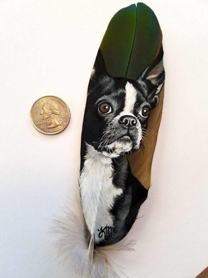 Anjing Boston Terrier dilukis di bulu burung macaw yang berwarna hijau tentara.