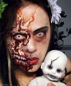9 Dandanan Make Up Paling Menyeramkan Saat Helloween, Jangan Lihat Kalau Gak Berani !