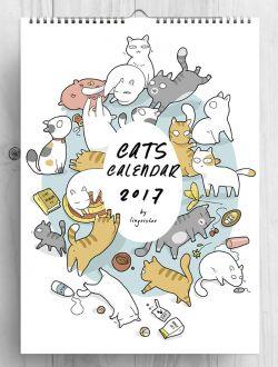 Kalender 2017 Bergambar Kartun Kucing Ini Cocok Banget untuk Pecinta Kucing
