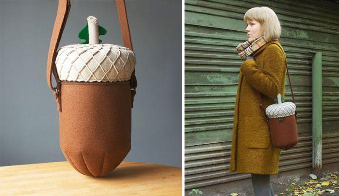 Tas berbentuk biji pohon ek.