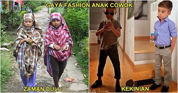 Ini nih perbedaan fashion anak cowok jaman dulu dengan sekarang. Pernah nggak sih kamu memakai sarung seperti digambar buat main ninja-ninjaan? Jadi kangen masa kecil kan Pulsker.