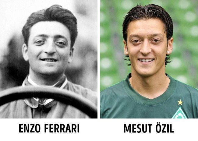 Seperti reinkarnasi Enzo Ferrari, pria yang mendirikan perusahaan Ferrari ini meninggal pada tahun 1988. Dan sekitar sebulan kemudian lahirlah pemain bola Mezut Ozil. Melihat foto keduanya, mereka tampak seperti sodara kembar beda generasi. Apakah ini bisa disebut reinkarnasi?