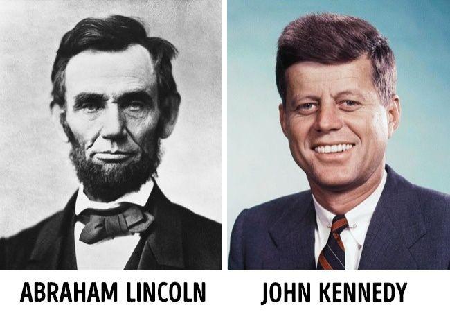 Banyak kebetulan di biaografi mantan presiden AS, Lincoln dan Kennedy Ada banyak kebetulan yang aneh ada pada biografi dua mantan presiden Amerika, Abraham Lincoln dan John F Kennedy. Berikut beberapa faktanya: 1. Mereka berdua dibunuh dengan luka tembak di bagian belakang kepala, pada hari Jumat, sebelum perayaan (Lincoln tewas sebelum Paskah, Kennedy pada malam Thanksgiving). Masing-masing didampingi istri dan pasangan lain. 2. Keduanya memiliki empat anak. 3. Keduanya memiliki seorang teman bernama Billy Graham. 4. Kennedy memiliki sekretaris yang bernama Mrs. Lincoln dan Presiden Lincoln memiliki sekretaris bernama John. 5. Pengganti mereka setelah kejadian pembunuhan itu adalah wakil presiden yang namanya juga sama bernama Johnson, yang keduanya orang selatan dan Demokrat.