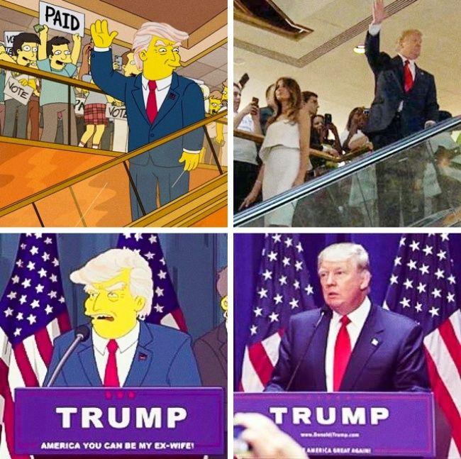 Sebuah prediksi kemenangan pemilu Donald Trump di The Simpsons Kreator The Simpsons membuat episode pada tahun 2000an yang membuat lelucon tentang Donald Trump menjadi presiden Amerika Serikat. Mungkinkah mereka telah menduga bahwa suatu hari akan terjadi? Bahkan yang lebih menakjubkan adalah kenyataan bahwa acara yang terlihat saat pemilihan Trump dengan cara yang hampir identik dengan adegan-adegan dari kehidupan nyata saat Trump berkampanye kemarin. Ini bukti fotonya..