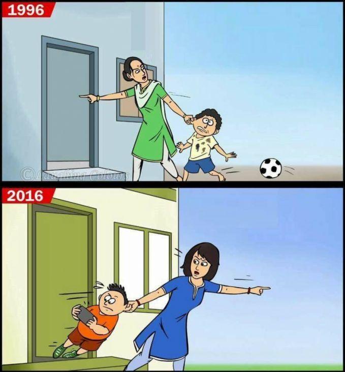 Dulu : Saat bermain diluar rumah sampai nggak ingat waktu, kita pasti dimarahi sama ibu. Sekarang : Saat kita kelamaan main gadget dirumah, juga dimarahi ibu kerena nggak pernah main diluar.