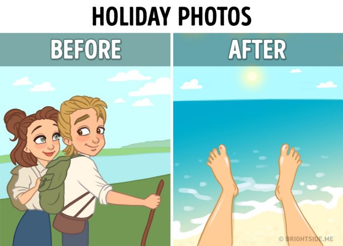 Saat liburan Dulu : Foto yang terlihat adalah foto kita dan pemandangan sebagai latar belakang fotonya. Sekarang : Cukup pamer kaki aja udah cukup membuktikan kita udah liburan.
