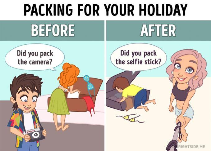 Berkemas sebelum liburan Dulu : Yang nggak boleh ketinggalan adalah kamera pocket. Sekarang : Yang nggak boleh ketinggalan adalah selfie stick dan smartphone.