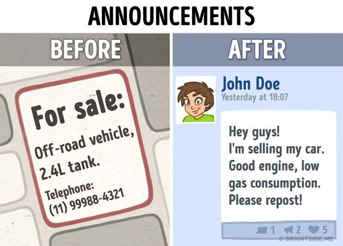Pasang iklan Dulu : Jika kita ingin menjual sesuatu harus memasang iklan melalui koran. Sekarang : Segala sesuatu bisa dijual dan dibeli secara online melalui Facebook.