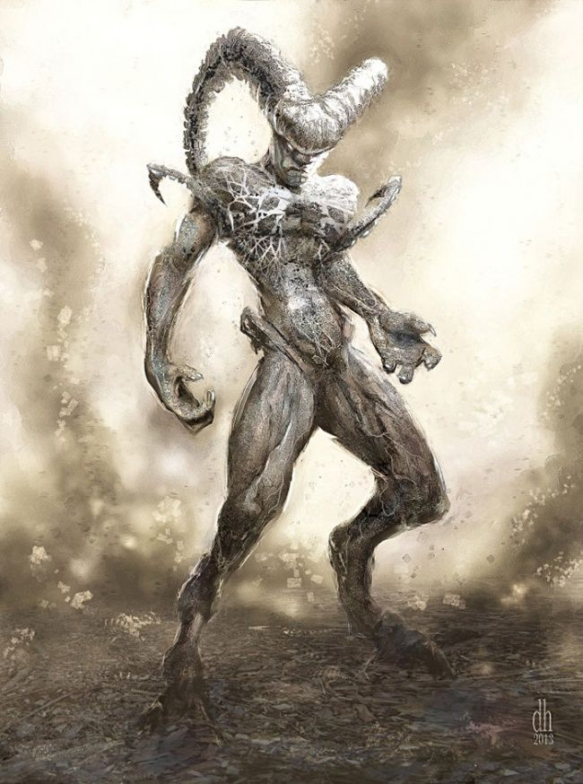 Sosok pertama yang digambar oleh sang seniman adalah Aries. Kalau di dalam zodiak Aries dilambangkan dengan seekor domba bertanduk. Kali ini dia bertransformasi menjadi sesosok monster bertanduk seperti ini pulsker.