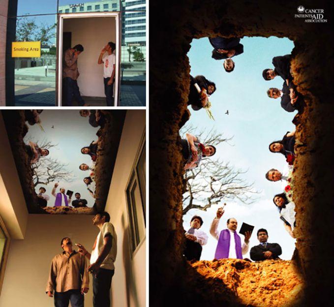 Salah satu mengurangi bahaya asap rokok ditempat umum adalah dengan membuat smoking area pulsker. Namun kalian bakal terkaget saat masuk smoking area ini. Lihat saja foto 3 dimensi di langit-langit ruangannya. Seolah kalian dilihat dari atas dan merokok di liang kubur pulsker.