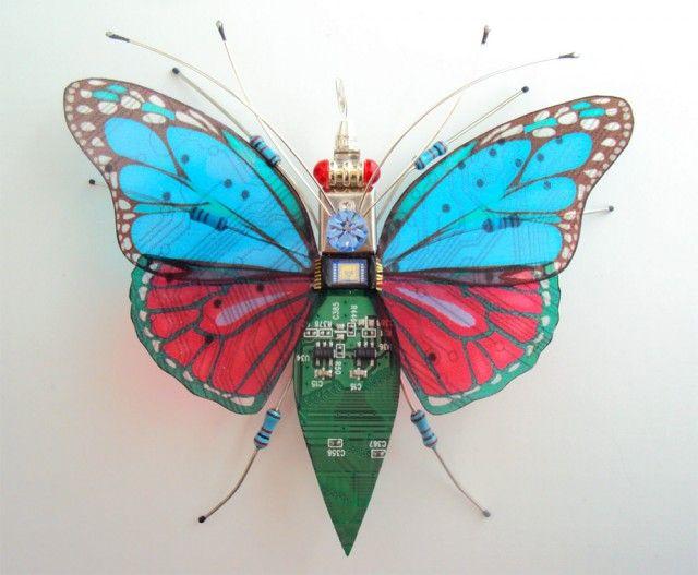Karya pertama dari Julie adalah prototipe seekor kupu-kupu ini pulsker. Julie memadu padankan bagian-bagian chips komputer yang rusak dengan penuh imajinasi sehingga tercipta miniatur kupu-kupu . Untuk mempercantik tampilannya dia mengkombinasikan beberapa warna di bagian sayapnya.