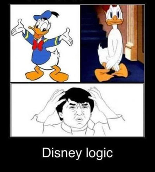 Hai generasi 90an, dulu hobbynya pasti nonton sereal Disney Donald Duck & Chip and Dale ini kan? Donald ini biasanya pakai baju khas berwarna biru dengan topinya. Tapi ada beberapa episode yang memperlihatkan Donald nggak pakai baju terus dia malu menutupi badan dan kakinya. Padahal biasanya dia cuma pakai baju dan nggak pakai celana lho!