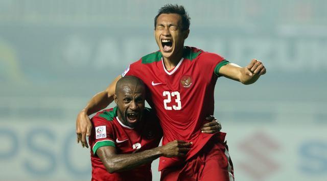 Selebrasi Hansamu Yama saat berhasil mengalahkan thailand.