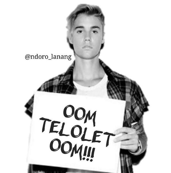 Wah,,ternyata Justin Bieber juga nggak mau kalah Pulsker. Walaupun cuma editan, lucu banget ya dia megang kertas tulisan OOm Telolet Om.