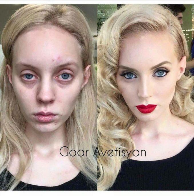 jauh berbeda, sebelum dan sesudah menggunakan make up. Menyembunyikan kantung mata.
