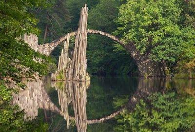 Jerman Jembatan ilusi optik, jembatannya seperti menyatu yang membentuk lingkaran.