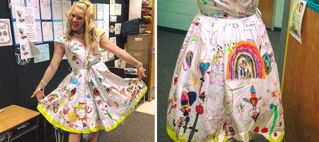 Guru wanita ini mempersilahkan muridnya untuk menulis atau menggambar apapun pada gaunnya yang berwarna putih pada hari terakhir sekolah (perpisahan siswa).Bukannya kotor, gaun itu malah terlihat indah dengan coretan para siswa. Keren!