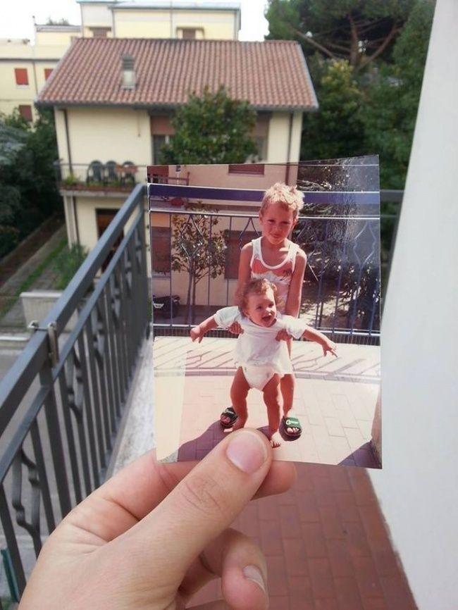 Yang ini juga bisa kamu tirukan bersama orang tua atau saudaramua Pulsker. Caranya kamu bisa mencari foto lama yang masih terlihat sama persis di tempat yang pernah kamu pakai berfoto dengan orang tua atau saudaramu itu, lalu foto itu bisa kamu foto lagi. Hasilnya, jadi deh seperti foto dibawah ini!