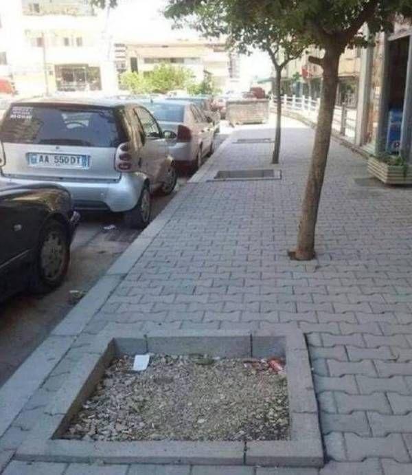 Yang ini bikin gagal paham deh, dipinggir trotoar sudah dibuat tempat pohoh, tapi yang ada pohonnya malah terletak disampingnya. Gimana sih maunya??