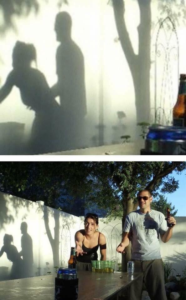 Foto atas : Jika melihat bayangan ini kamu pasti langsung berpikiran kotor. Foto bawah : Ternyata itu hanyalah pria dan wanita yang sedang berolah raga.