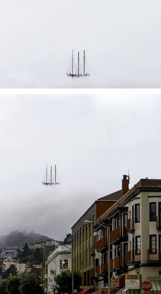 Foto atas : Wah..ada kapal layar yang melayang di awan. Foto bawah : Ternyata itu hanyalah foto sebuah tower/menara yang tertutup kabut pagi sehingga terlihat seperti kapal laut yang terbang.