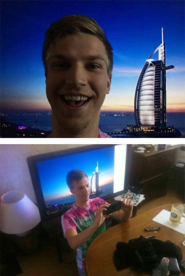 Foto atas : Seorang pria sedang berfoto dilantai atas sebuah bangunan dekat Burj al Arab. Foto bawah : Padahal sebenarnya dia hanya berfoto dengan latar belakang sebuah TV flat dengan tampilan Burj al Arab di Dubai. Mulai sekarang jangan percaya sama temanmu yang upload foto liburan ya, bisa jadi dia seperti mereka-mereka ini Pulsker..hehehe