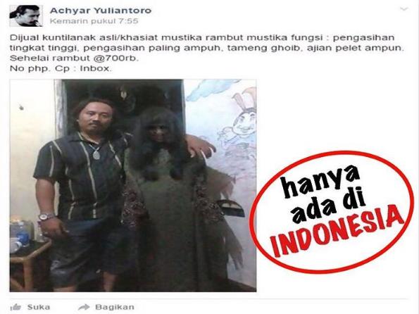 Kuntilanak adalah sosok yang dikenal dengan wajah yang menyeramkan. Tapi cuma di Indonesia lho ada yang orang yang menjualnya. Berminat untuk membeli Pulsker?