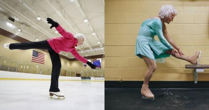 nenek Cluff dengan usia 80 tahun ini hobinya bermain ice skating. Katanya nenek ini cinta dengan ice skating dari kecil.